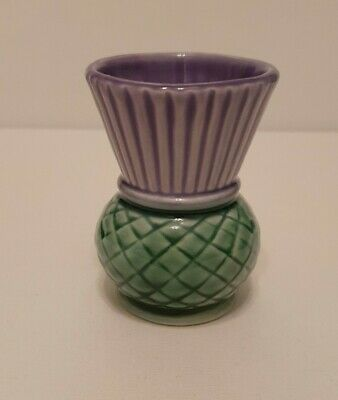 Vintage Clyde Ceramics Thistle Vase Made In Scotland Purple & Green Collectable • 10£