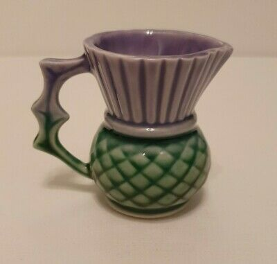 Vintage Clyde Ceramics Small Cream Jug Made In Scotland Purple And Green • 15£