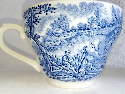 Staffordshire English Country Scene Blue Tea Cups  • 5£