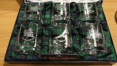 NEW BOXED SET Gleneagles Crystal Glasses 6 Pieces Whiskey Glasses • 54£