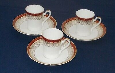 3 Early Royal Grafton Coffee Cups & Saucers Majestic Pattern In Good Condition • 9.99£