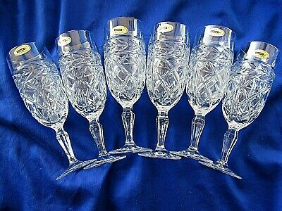 Vintage London 24% Lead Crystal Champagne Glasses New & Boxed • 25£
