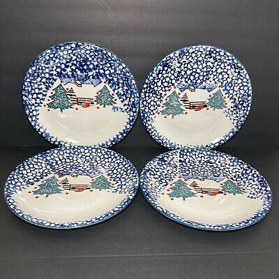4 Tienshan Folkcraft CABIN IN THE SNOW Dinner Plates Cottage Lodge Christmas • 14.31£