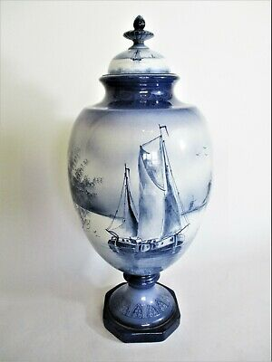 Stunning Royal Bonn Lidded Vase In Delft Design. 17  Tall • 95£