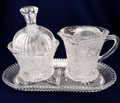 Germany Hand Cut Lausitzer Glas MARGRET Crystal  Frosted Cream Sugar & Tray Set  • 20£