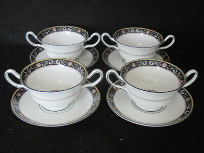 Wedgwood Pattern W4472 'runnymede' Set X 4 Soup Coupes & Stands - Dark Blue 1st • 75£