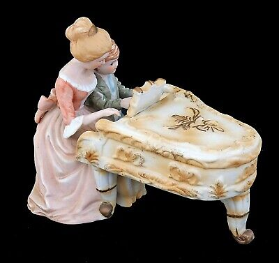 Stylish Ceramic Pottery Lady Teaching Boy Piano Lesson Collectable Figurine VGC • 0.99£
