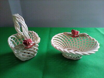 Set Of 2 Vintage Porcelain Woven Baskets With Flowers • 4.99£