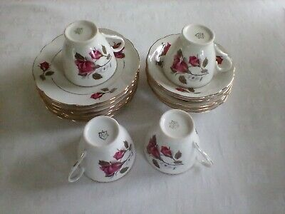 VINTAGE CMIELOW TEACUPS, SAUCERS & PLATES1960s RED ROSE DESIGN PORCELAIN/ CHINA • 9.99£