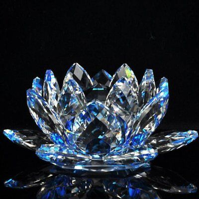 LARGE BLUE 13 CM Lotus Crystal Glass Figure Paperweight Ornament Charm Art Craft • 13.99£