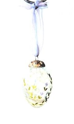 Crackled Glass Ornament By Russ Hanging Egg Shape - New Boxed • 5.99£