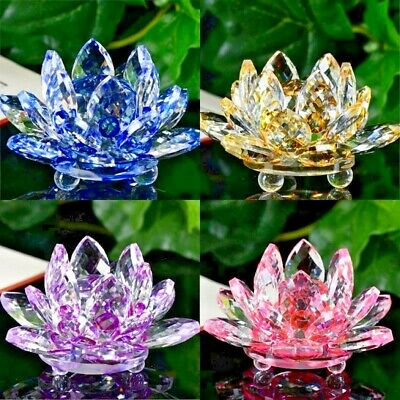 Crystal Lotus Flower Ornament Large Crystocraft Home Decor_ All Colours Free P&p • 13.45£