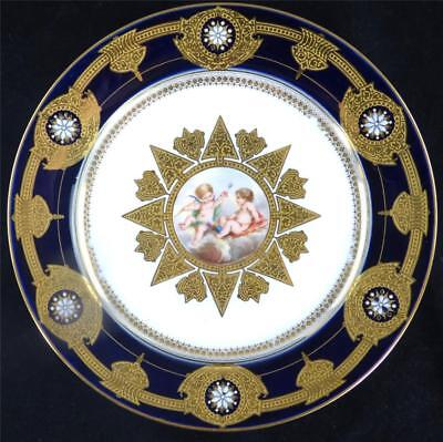 N516 ANTIQUE  FRENCH SEVRES STYLE PORCELAIN PLATE CHERUBS COBALT BLUE ENAMEL A • 249.99£