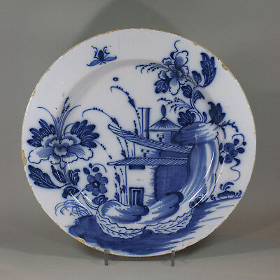 Antique English Delft Blue And White Charger, Circa 1750 • 380£