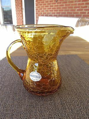 Vintage Heritage Amber Crackled Glass Mini Pitcher  Hand Blown • 11.89£