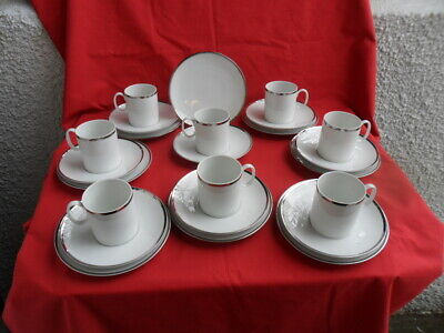 THOMAS (Germany) Platinum/Silver (Wide Band) Cups, Saucers & Teaplates • 29.99£