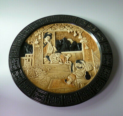 Bretby Pottery Oriental Design Wall Plate / Plaque VGC • 30£