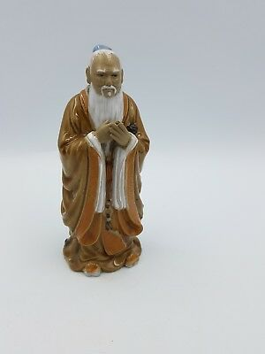 Chinese Shiwan Pottery Part Glazed Clay Figurine Sage Wise Man Long White Beard • 29.99£