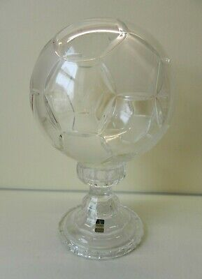 Large Handmade Lead Crystal Glass Football Sculpture Gleneagles 32 Cm Tall • 25£