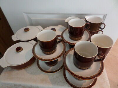 POOLE POTTERY - Selection Of CHESNUT COMPACT DINNER WARE -  BROWN/ WHITE  • 30£
