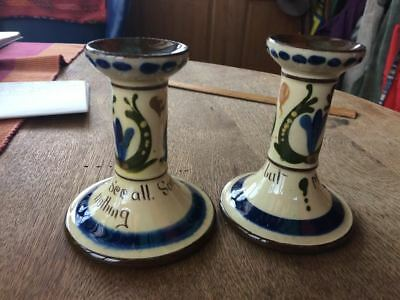 Torquay Devon Motto Ware Candlesticks Candle Holders • 20£