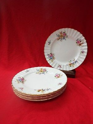 ROYAL WORCESTER ROANOKE White Z2827 Fluted 6 Salad Small Dinner Plates • 16.99£