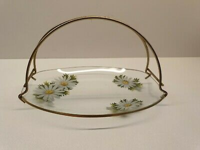 Chance Glass Rectangular Dish Tray White Daisy Pattern • 10.99£