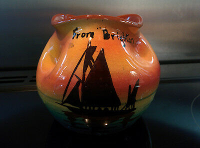 Torquay Motto Ware Black Sail Boat Pinched Top Bowl Marked  From Brighton  • 6.50£