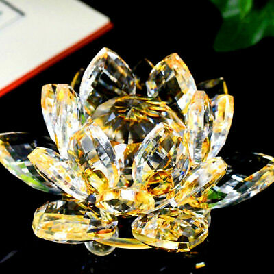 Large Gold/yellow Crystal Lotus Flower Ornament With Gift Box Crystocraft Home • 12.99£
