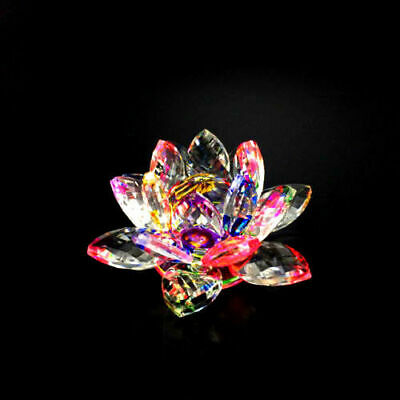 Large Crystal Cut Multi Lotus Flower Ornament With Gift Box For Christmas Xmas_u • 12.95£