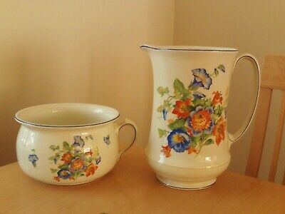 Vintage Cream China Floral Chamber Pot With Large Matching Jug. • 39.99£