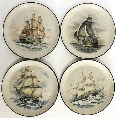 VINTAGE PURBECK POTTERY Stoneware Nautical Famous Ships Galleon PLATES  X 4 • 19.99£
