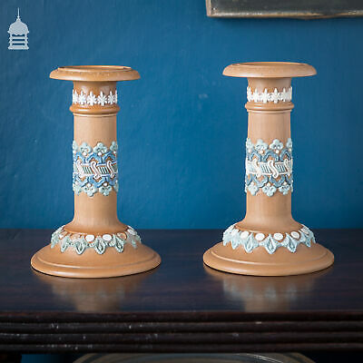 Pair Of Doulton Lambeth Silicon Ware Candle Holders • 150£