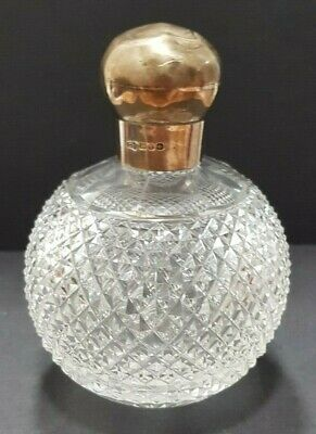 Antique Victorian 1891 Cut Glass Perfume Bottle Silver Cap 296.2g • 39£