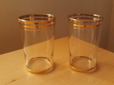 Vintage Set Of 2 Retro Glass Tumblers With Gold Design.  • 6.99£