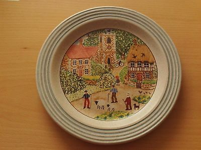 Purbeck Pottery Stoneware Plate Village Scene Design ~ Roughly 8 1/2  Across • 6.99£