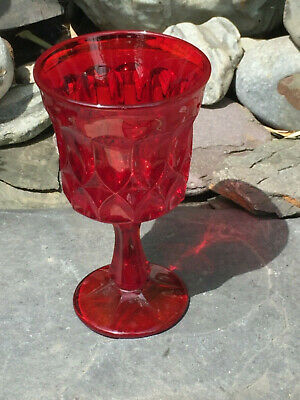 EARLY 20thC VINTAGE RUBY AMBERINA PRESSED GLASS LARGE GOBLET- UV REACTIVE! • 18.50£