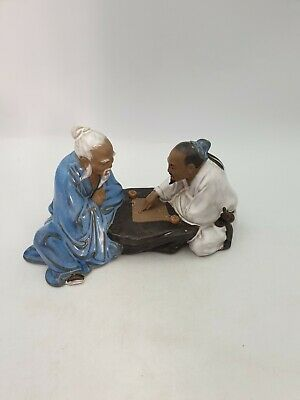 Chinese Shiwan Pottery Mudman Figurine Two Men Playing Board Game Part Glazed  • 31.99£