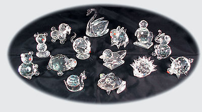 Set Of 12 Crystal Glass Animals • 19.99£