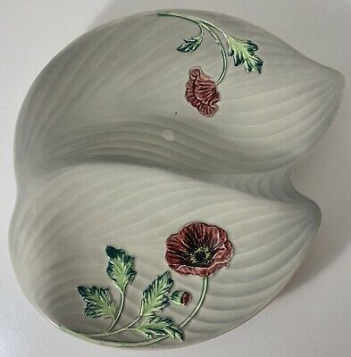 Vintage Staffordshire Hand Painted Shorter & Son Ltd Poppies Twin Leaf Dish • 7.99£