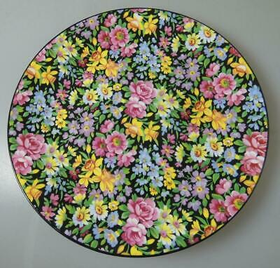 1930s/'50s WINDSOR CHINTZ TEA PLATE PRETTY FLOWERS ON BLACK BACKGROUND • 9£