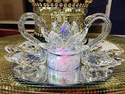 Large Decorative Crystal Glass Double Swan With Lotus Ornament NEW_UK • 26.99£