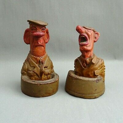 WW2 Comical Chalkware Ashtray Figures ~ 1940's British Army Caricature / Plaster • 65£