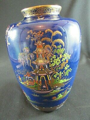 Early Carlton Ware Chinaland Pattern Large Vase On A Dark Blue Ground C.1920-30 • 225£