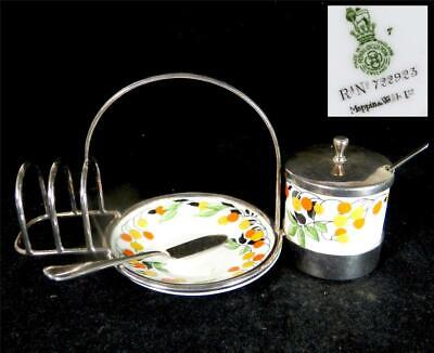 Royal Doulton Porcelain & Mappin & Webb Silver Plate Toast Butter & Jam Pot • 49.99£