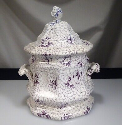 Antique Staffordshire Purple Transferware Covered Sugar Rose & Bell - 57430 • 61.54£