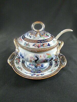 Hand Painted Sauce Toureen, Ladle & Stand C.1842-83 • 90£