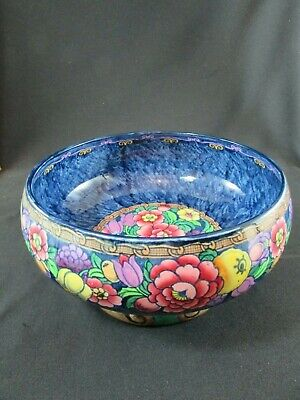 Large Losol Ware Hand Painted Bowl Newlyn Pattern C.1920-30 • 140£