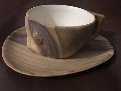 Grandjean-Jourdan 1950s Faux Wood Pottery Cup And Saucer • 10£