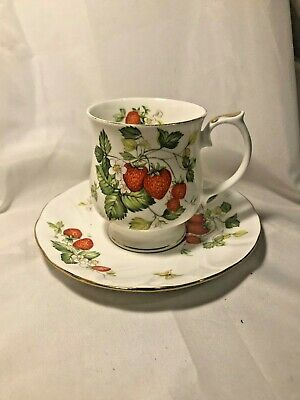 Queens China Virginia Strawberry Rare Teacup & Saucer - Beautiful Condition • 24.99£